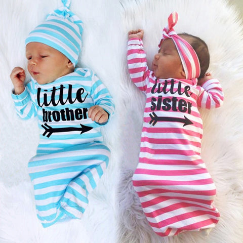 2Pcs Set Newborn Infant Baby Girls Boys Letter Stripe Pajamas Gown Outfits HAT/HEADBAND + Blankets 20