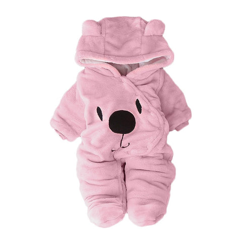 ARLONEET Newborn Baby Plush and velvet warm romper Girl Boy Solid Cartoon Bear Velvet Hooded Jumpsuit Romper Clothes L1108
