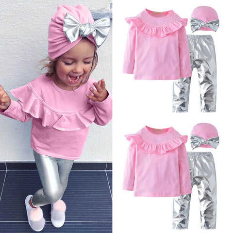 Girls Clothes Cotton Casual Children Clothing Set 2018 New Long Sleeve Ruffles Top+Pants+Hat 3Pcs Kids Suits Clothes Outfit Sets