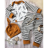 MUQGEW 2018 Hot Sale Newborn Baby Boy Girl Feather T shirt Tops Striped Pants Clothes Outfits Set Dropshipping Baby Clothes