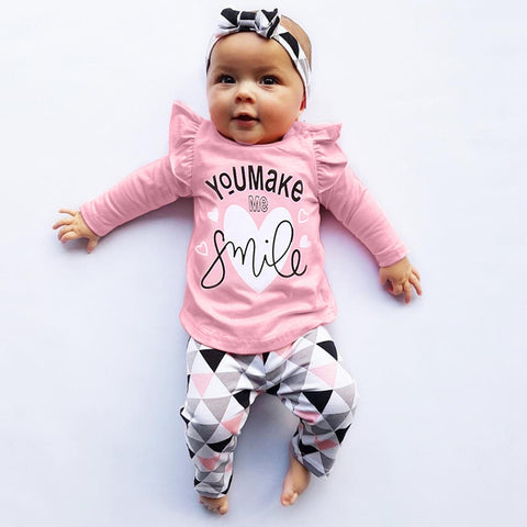 MUQGEW For Newborn Clothes Toddler Infant Baby Girls Boys Clothes Letter Print Tops Geometric Pants Outfits Set roupa infantil