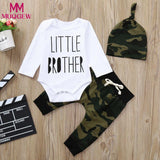 MUQGEW Toddler Baby girls boys 3pcs Newborn Toddler Baby Infant Boys Letter Romper Jumpsuit Camouflage Pants Outfits Set