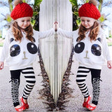 MUQGEW Toddler Kids Girls Panda Sequins Tops T-shirt+Striped Bow Pants Clothes Setroupas infantis 3T-7T tracksuit for girls