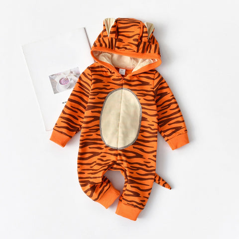 Newborn Infant Baby Girls Boys Cartoon Tiger Hooded Romper Jumpsuit Outfits fashion baby costume brand baby costumev