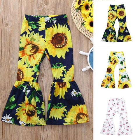 Pleasant Children Kid Girls Clothing Costumes Sunflower Print Bow Flare Long Cloth Pants Casual Trousers Children Clothes Sets