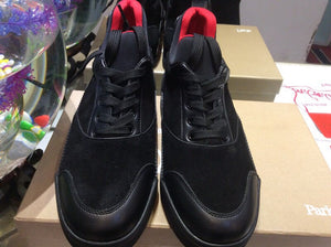 the best attitude f224e 31d38 Black Genuine Suede Leather High Top Red Bottom Sneakers ...