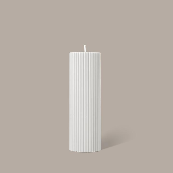 Black Blaze - Wide Column Pillar Candles, Cream White
