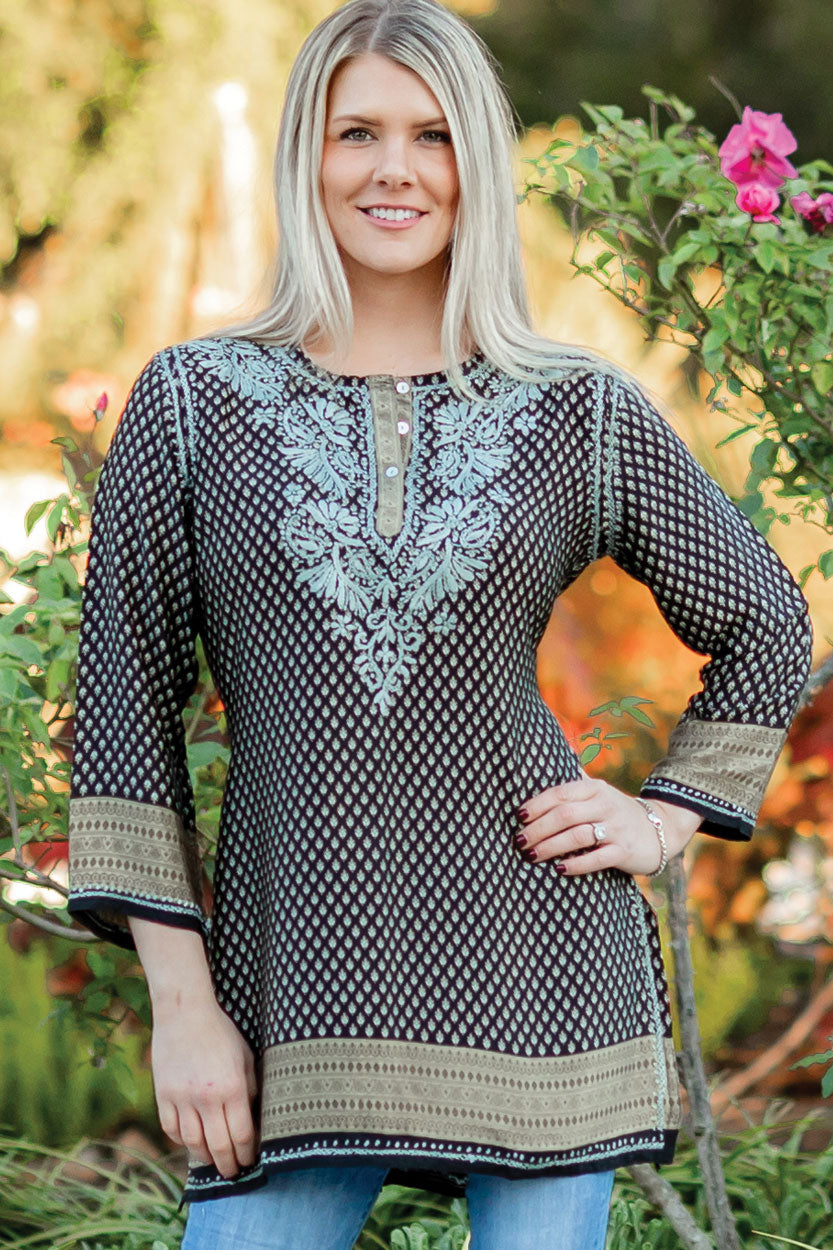Sevya Deena tunic, hand-embroidered