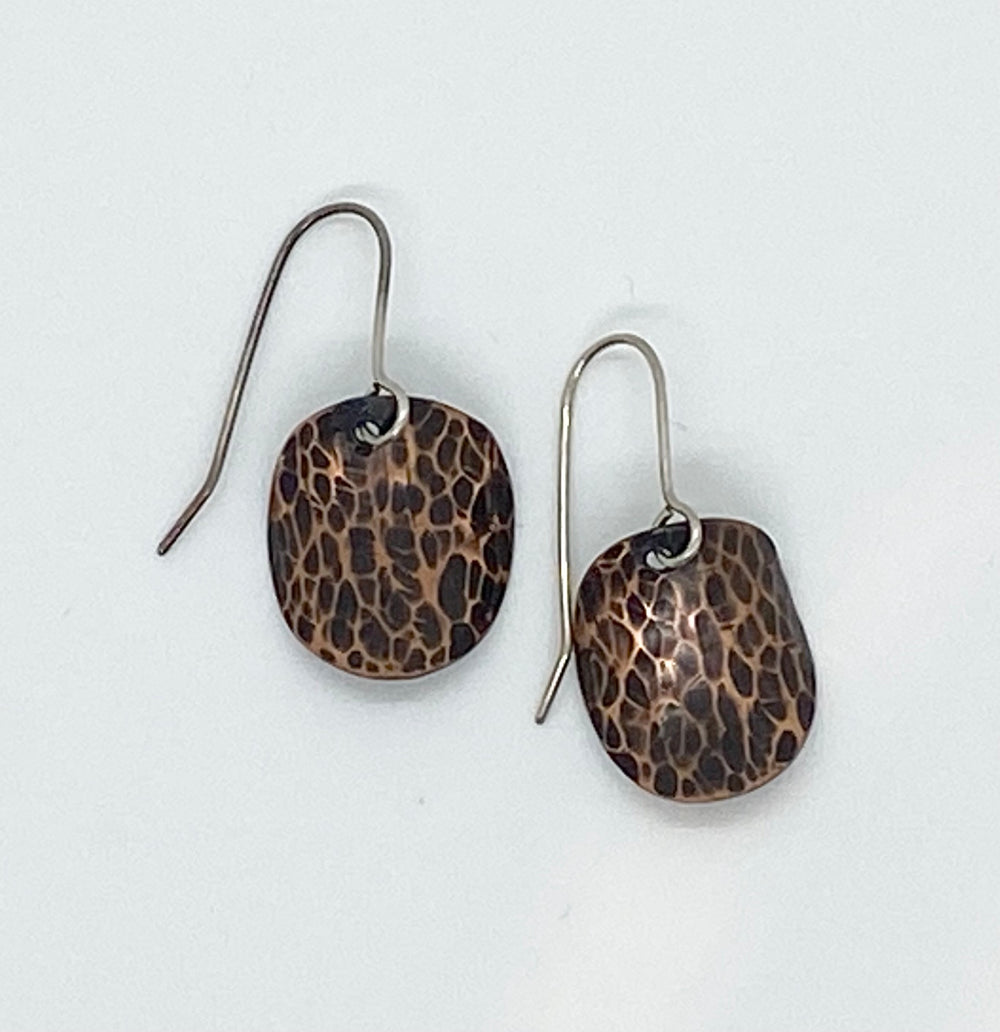 Erin Austin earrings, #190/191/192/193/194/195 Hammered Copper or Silver