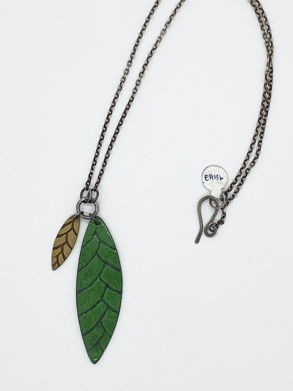 Erin Austin necklace, #136/137 Green Cone/Leaf pendant