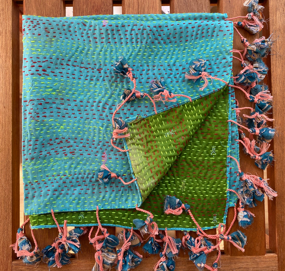Sevya scarf, Kantha recycled silk square
