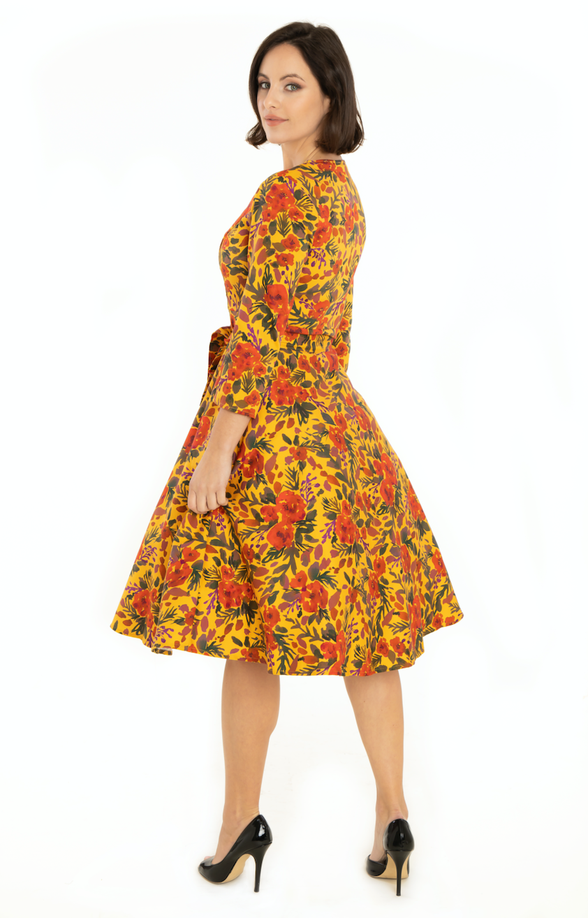 Miss Lulo dress, Mira watercolor floral