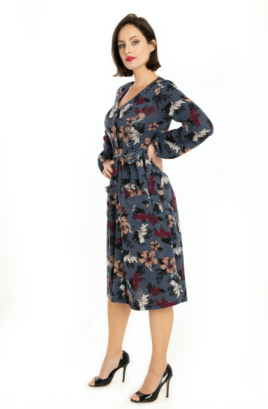 Miss Lulo dress, April grey floral sweater knit