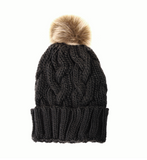 Joy Susan hat, mixed knit pompom lined