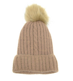 Joy Susan hat, single cable knit pompom lined
