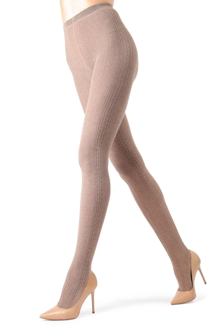 MeMoi Sweater-Knit Tights (cable)