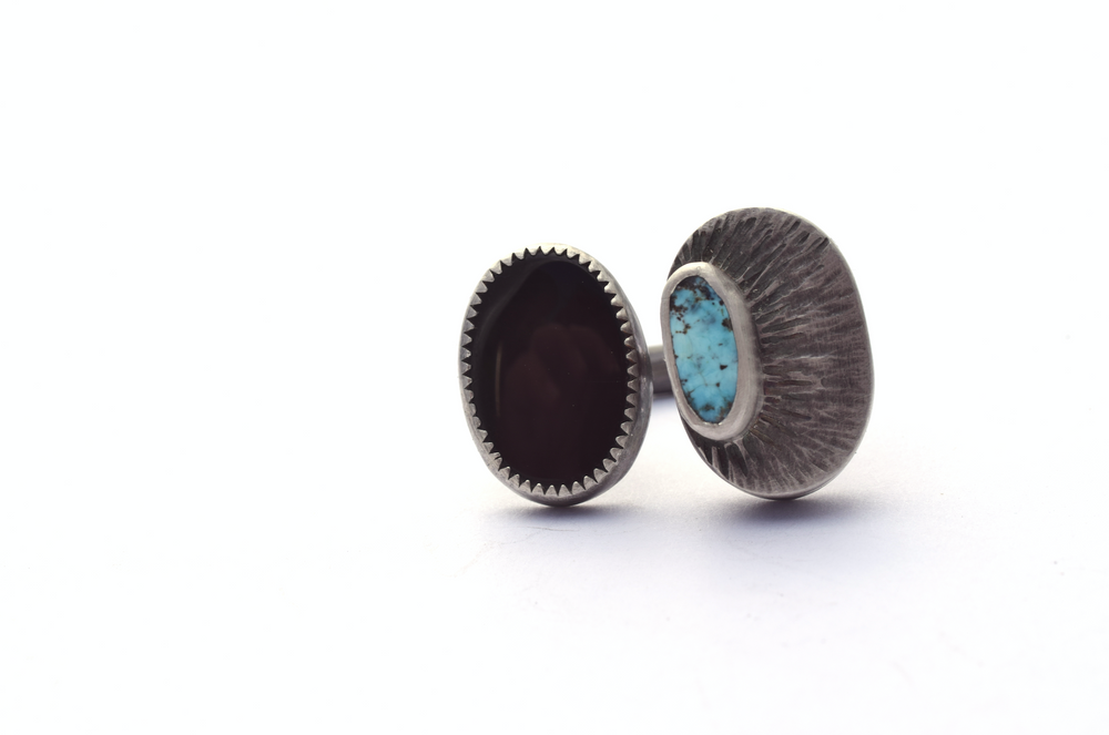Erin Austin ring, #199 Black Onyx and Turquoise Hollow Form