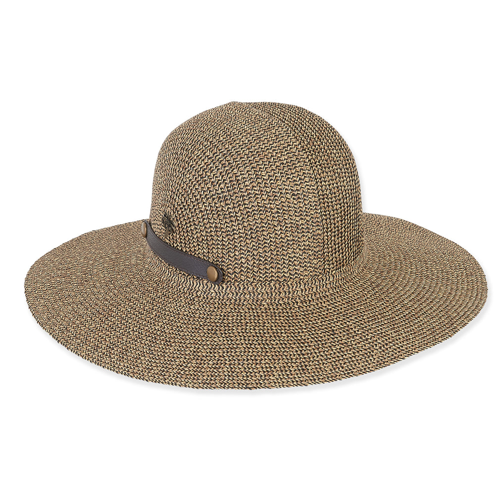 Sun 'n' Sand packable hat, tweed with faux leather closure