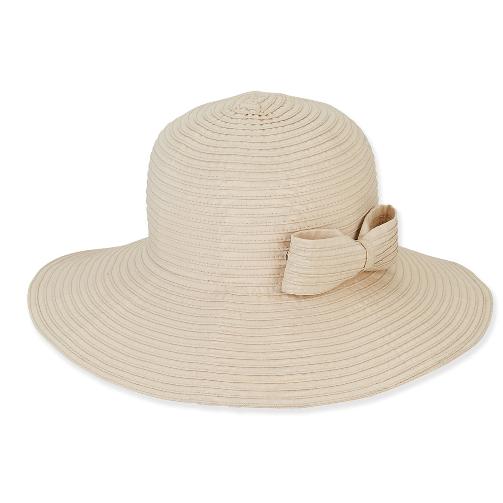 Sun 'n' Sand hat 1482, packable fabric with bow snap
