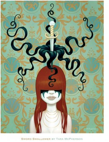 Sword Swallower Mini Print by Tara McPherson