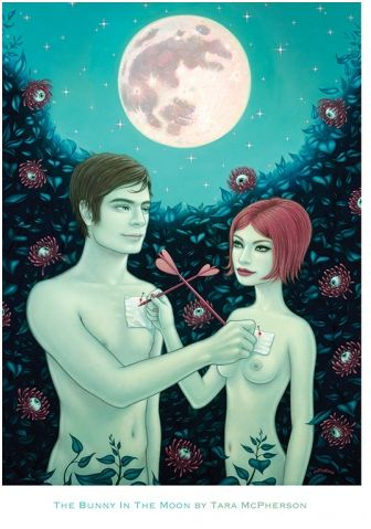 The Bunny In The Moon Mini Print by Tara McPherson