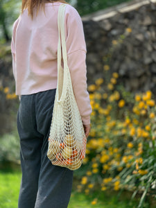 100% Organic White long handled string bag