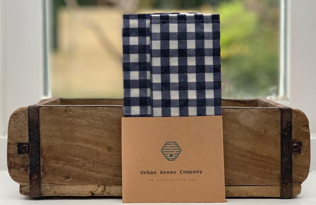 Bees Wax Wrap - 2 Snack Pouches Blue Gingham