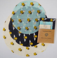 Load image into Gallery viewer, Bees Wax Wrap - All Rounder 3 Assorted circular wraps Bee