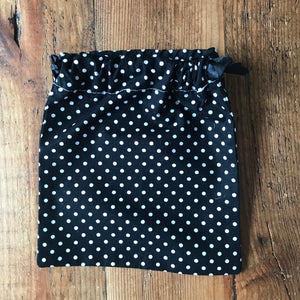 Draw String Bag- Black Polka dot