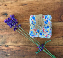 Load image into Gallery viewer, Eco Friendly Facial Pads, Reusable Facial Wipes, Make Up Remover Pads - Blue flowers