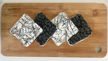 Load image into Gallery viewer, Eco Friendly Facial Pads, Reusable Facial Wipes, Make Up Remover Pads - Black flowers