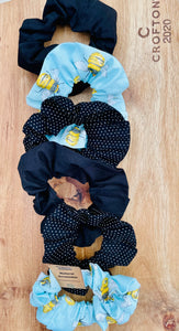 Hair Scrunchie -Black Polka Dot