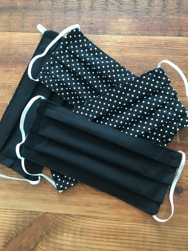 Face Mask  Black and Polka dot- Reusable & Washable