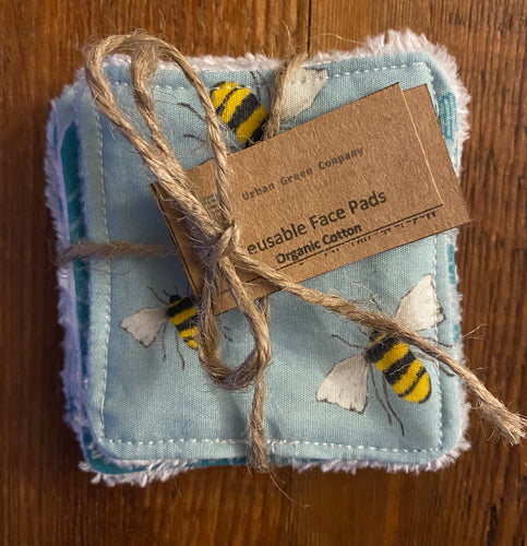 Eco Friendly Facial Pads, Reusable Facial Wipes, Make Up Remover Pads - Organic Cotton Bees