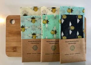 Bees Wax Wrap -2 Mixed Bees Sandwich Wraps
