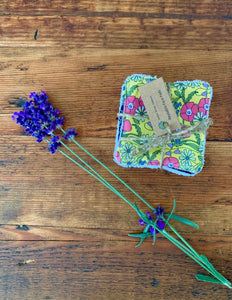 Eco Friendly Facial Pads, Reusable Facial Wipes, Make Up Remover Pads - Yellow flowers