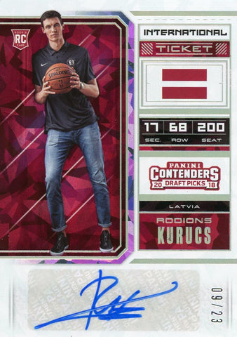 2018-19 Contenders Draft Picks Cracked Ice Ticket #128 Rodions Kurucs Auto /23