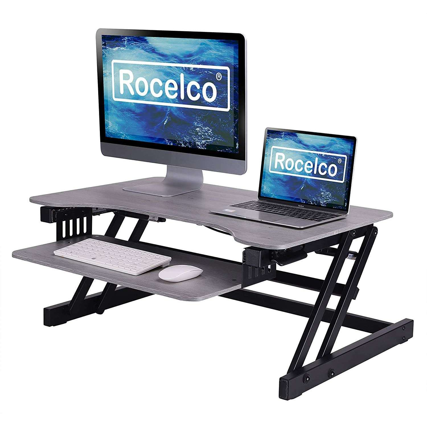 Rocelco 32 Height Adjustable Standing Desk Converter Dual Monitor R Uplift Office