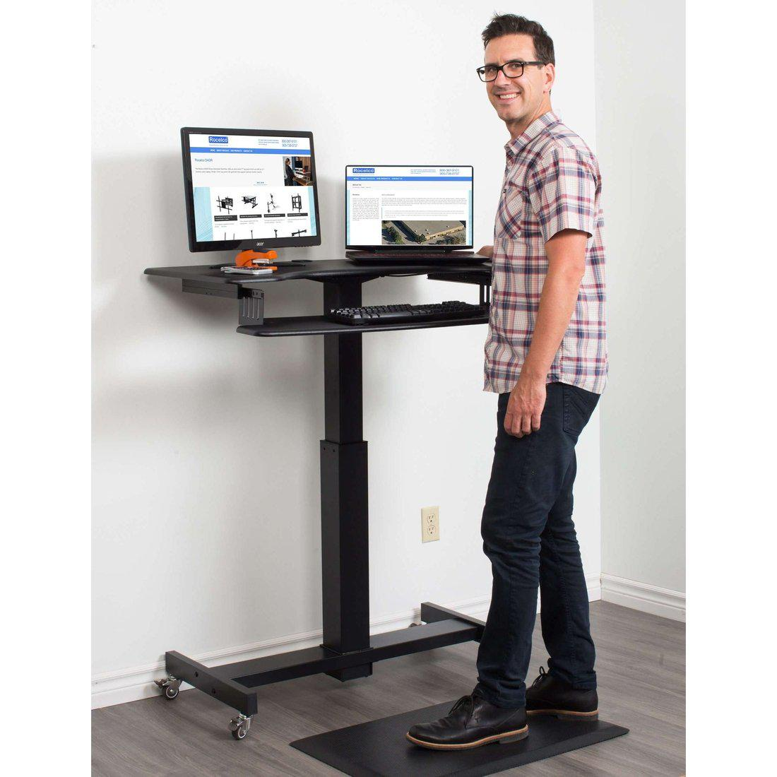 Rocelco Black 40 Height Adjustable Mobile Standing Desk Dual Monitor Keyboard Tray Gas Spring Assist R Msd 40 Upliftoffice Com Uplift Office