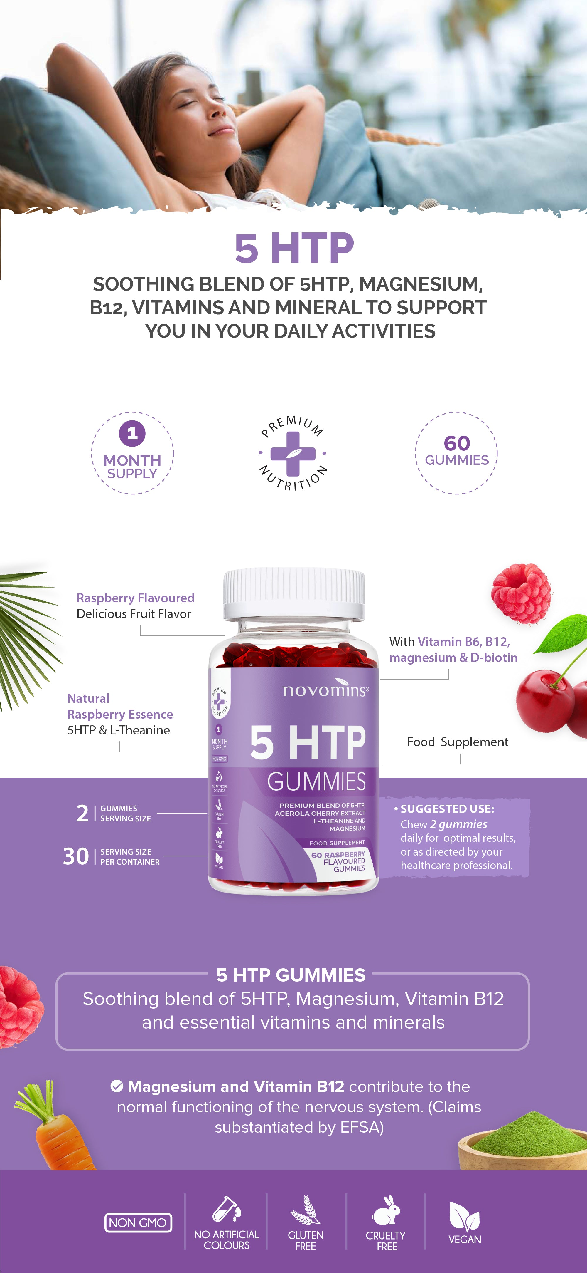 5htp gummies, melatonin gummies, sleeping gummies, 5 htp, melatonin gummies for sleeping, Nutritional Information, 5HTP, Glycine, L-Theanine, Acerola Cherry Extract, Vitamin B6, Biotin. Magnesium, Vitamin B12, Gluten Free, Non-GMO, Vegan, Delicious, Nutritious, No artificial colours, food supplement, support a reduction in tiredness and fatigue, contributes to normal neurological function, contributes to normal physiological function
