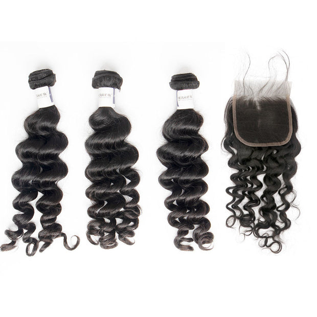 Top Raw Loose Curly 3 Bundles with 4x4 Closure