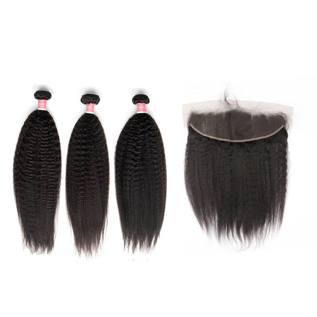 Top Virgin Kinky Straight 3 Bundles with 13x4 Frontal