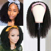 Top Virgin Kinky Curly Headband Wig 150 Density