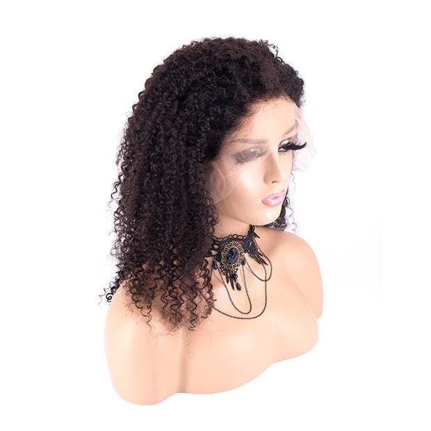 Top Virgin 13x4 Kinky Curlyl Lace Front Wig 180/250 Density