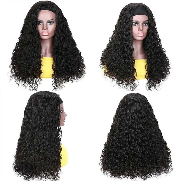 Top Virgin Italian Curly Headband Wig 150 Density