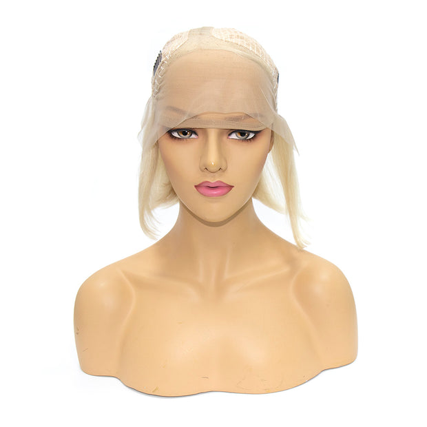 "Top Virgin 613 Blonde 13x4 Straight Hair Lace Front Bob Wig 180 Density with Baby Hair (10""-14"" Available)"