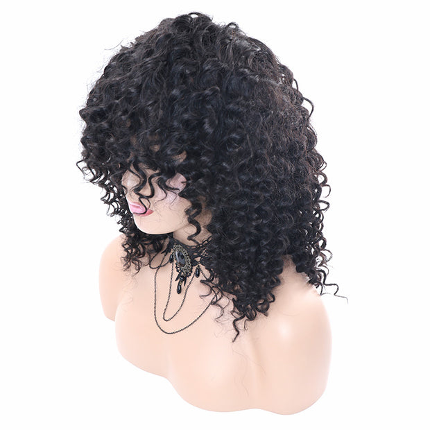 Top Virgin Deep Wave Gluess Wig Human Hair Wigs with Bangs (No Lace)