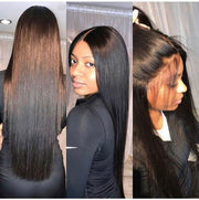 Top Virgin Straight Hair 3 Bundles with 13x6 Frontal