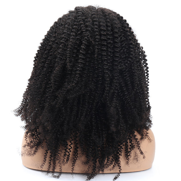 Top Virgin Kinky Curly Gluless Frontal Wig Human Hair Wig 180/250 Density