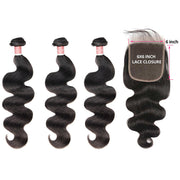 Top Virgin Body Wave 3 Bundles with 6x6 Closure